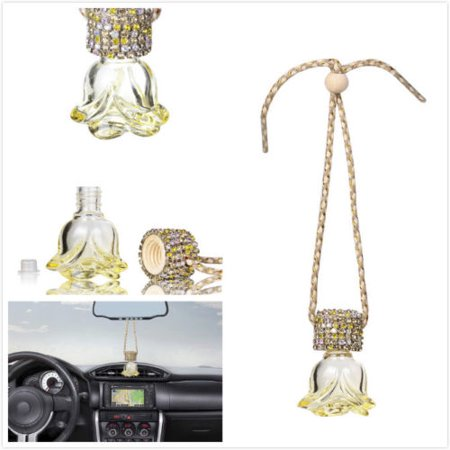 Card Decorations (MINI-FACTORY Car Mirror Hanging Decoration Bling Crystal Diamond Rose -)