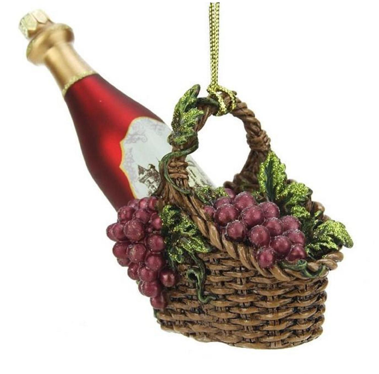 4.5 Tuscan Winery Red Glass Wine Bottle in Basket Christmas Ornament