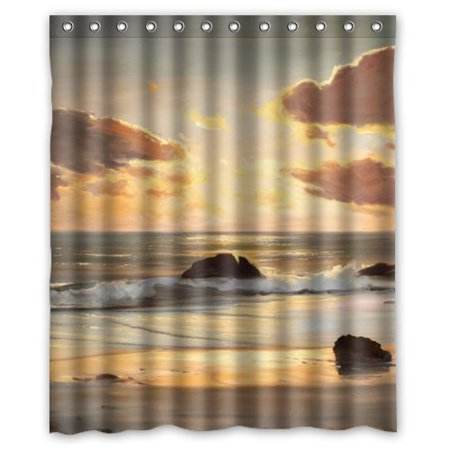 EREHome Beach scenerys Shower Curtain Polyester Fabric Bathroom Decorative Curtain Size 60x72 Inches - image 1 of 1