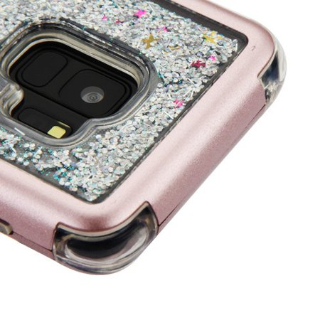 Kaleidio Case For Samsung Galaxy S9 G960 [Vivid TUFF] Glitter Quicksand Hybrid Silicon Skin Bumper Cover w/ Overbrawn Prying Tool [Liquid Rose Gold & Silver Sparkles]
