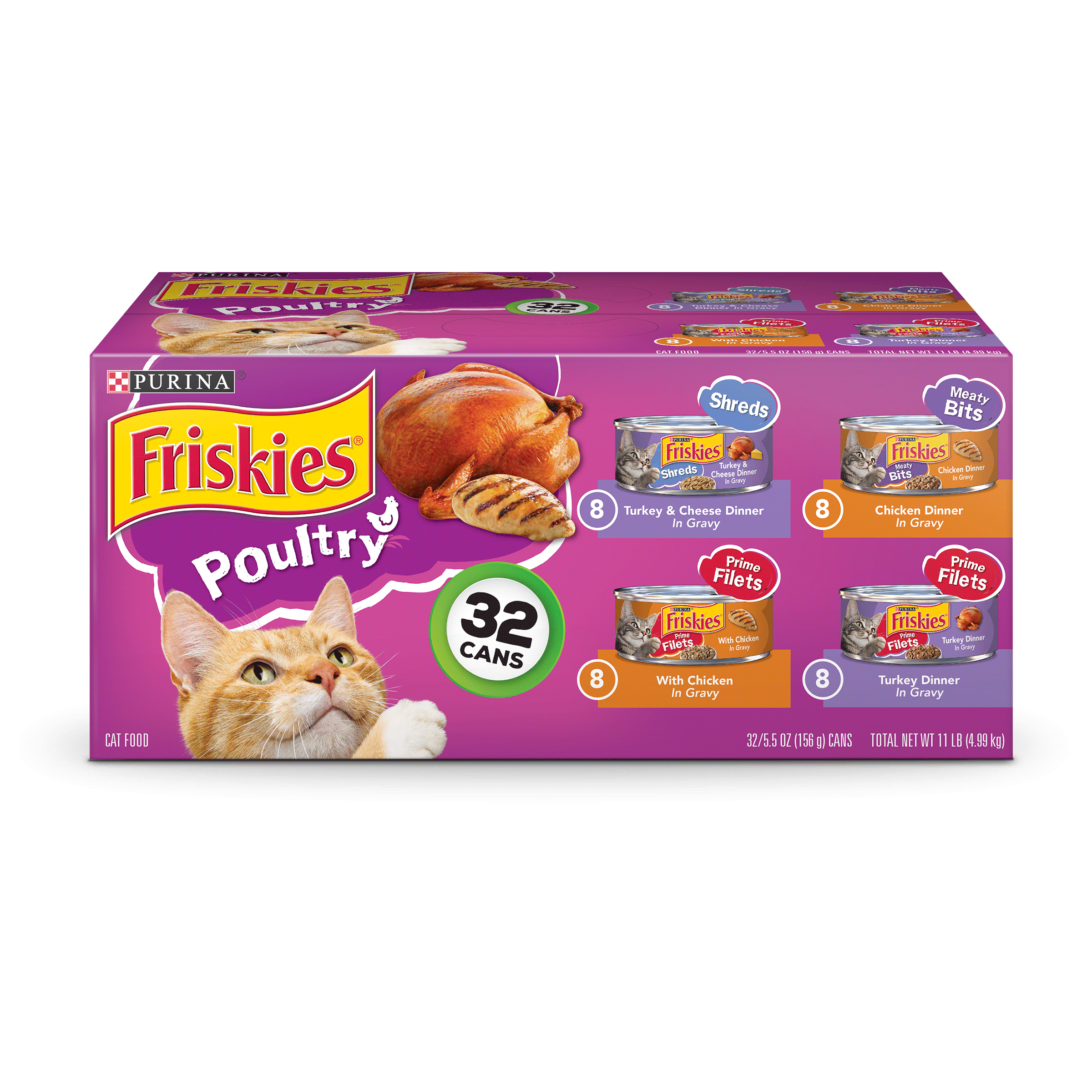 Friskies Poultry Adult Wet Cat Food Variety Pack (32) 5.5 oz. Cans by Nestle Purina Petcare Company