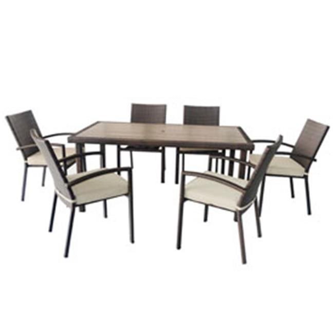 Jeco W00301-A-G 7 piece Espresso Wicker Dining Set