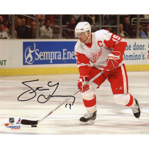 "Steve Yzerman Detroit Red Wings Autographed 8"" x 10"" with Puck White Jersey Photograph - No Size"