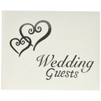 VL0016 Wedding Guests G Book with Linked Silver Hearts, This wedding guest book is one of the best wedding gifts By Darice Ship from US