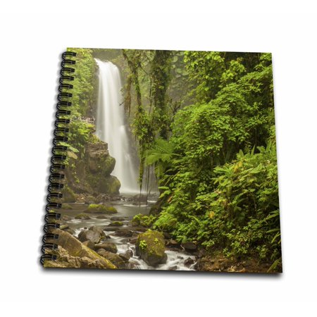3dRose Central America, Costa Rica. Templo waterfall in rain forest. - Mini Notepad, 4 by