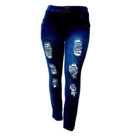 Diamante SL 1826 Womens Plus Size Stretch Distressed Ripped Blue Skinny Denim Jeans Pants
