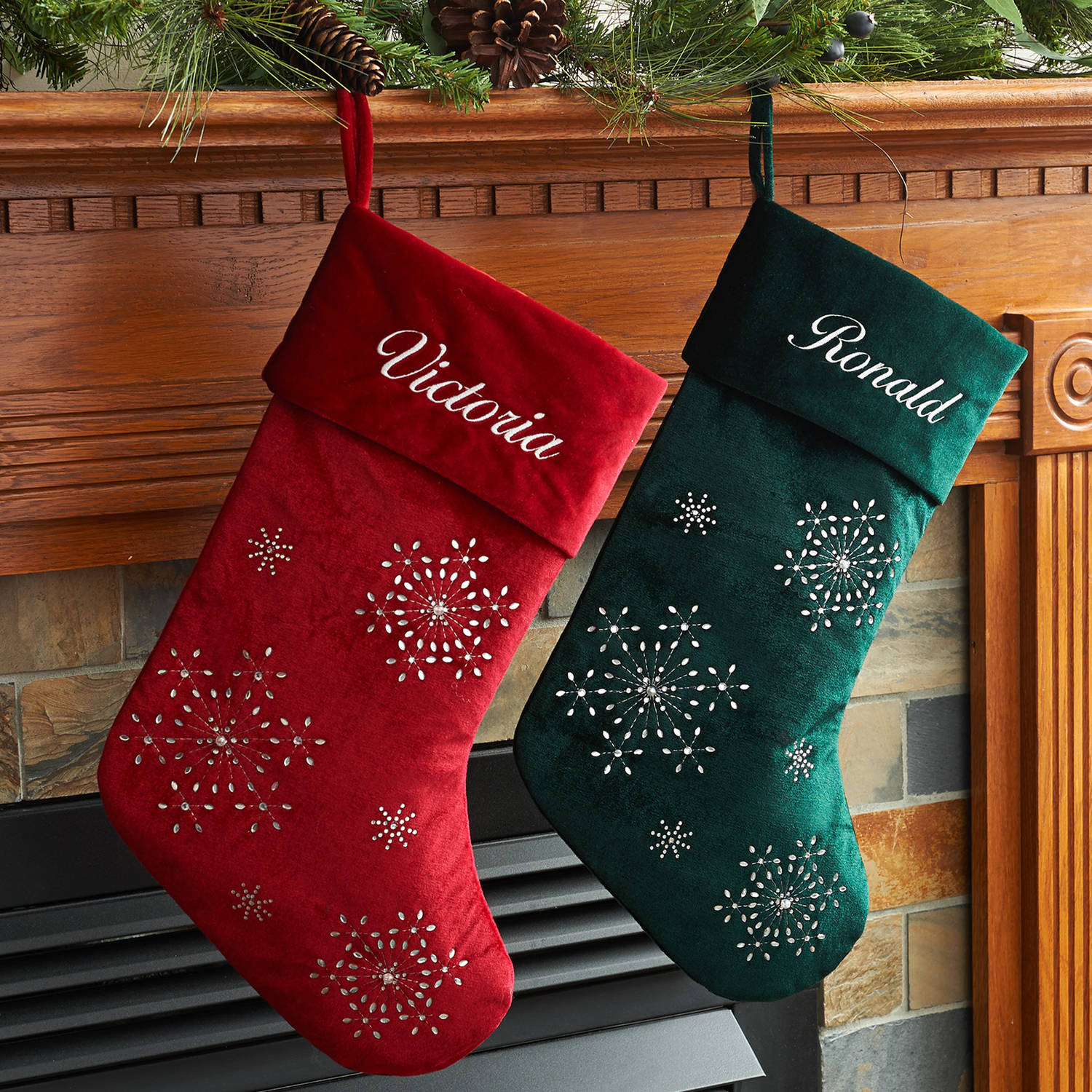 personalized velvet christmas stocking available in multiple colors walmartcom - Red And Green Christmas Stockings