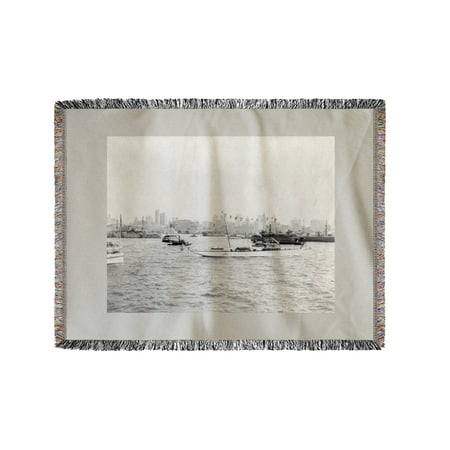 Lower New York and Harbor Filled with Boats NYC Photo (60x80 Woven Chenille Yarn (German U Boat In New York Harbor)