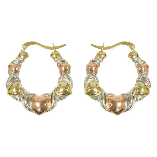 Forever New Rose Gold Tone/Gold Tone/Silver Tone X and Heart Hoop Earrings