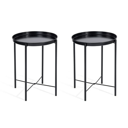 CAP LIVING 17-Inch Foldable Round Metal Tray End Table, Side Table, Set of 2, Colors Available in Matte Black and Matte - Scallop Tray Table