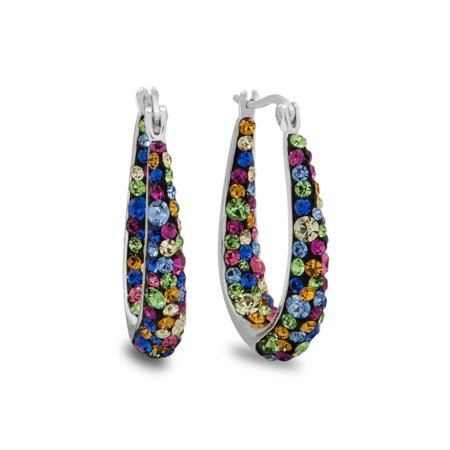 Rainbow Crystal Fine Silver-Tone Hoop Earrings](Rainbow Earrings)