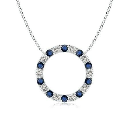 Eternity Sapphire and Diamond Open Circle Pendant in Platinum (1.5mm Blue Sapphire) Blue Circle Pendant