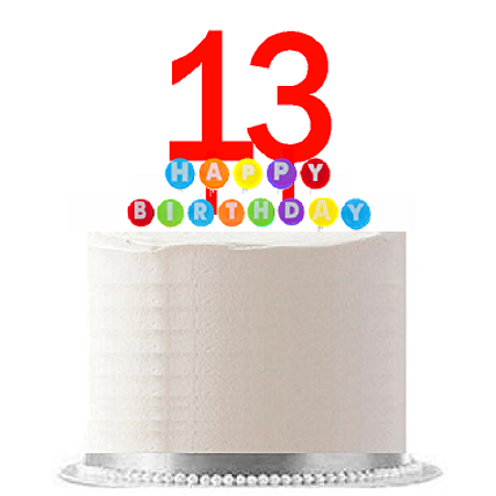 Item#013WCD - Happy 13th Birthday Party Red Cake Topper & Rainbow Candle Stand Elegant Cake Decoration Topper Kit (Minecraft Cake Kit)