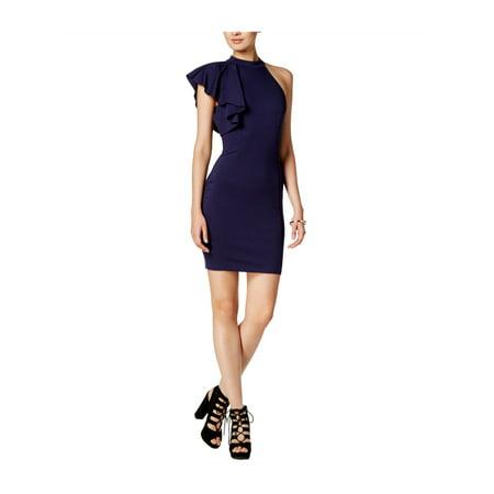 bar III Womens Asymmetrical Ruffle Bodycon Dress navyblazer L - image 1 de 1