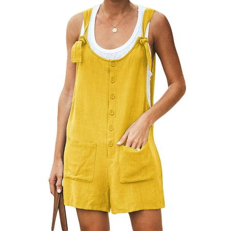 Women Dungarees Harem Strap Pants Loose Jumpsuit Button Trousers Overalls