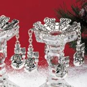 Silver Plated Snowman Holiday Christmas Centerpiece Bobaches Candlestick Candle Holders, Set of 2