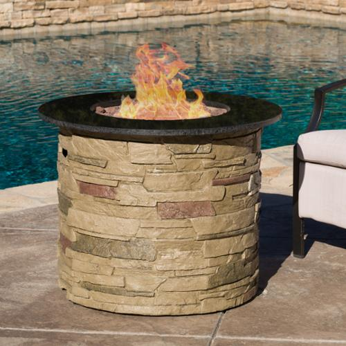 Christopher Knight Home Zuniga Outdoor Round Propane Firepit with Lava Rocks by by Overstock