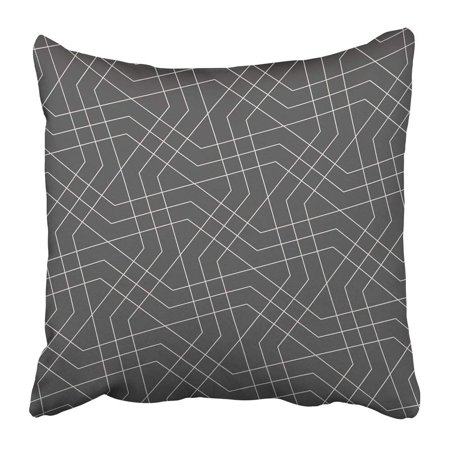 BPBOP Indian Abstract Geometric Pattern with Crossing Thin Lines Stylish in Gray Color Linear Arabic Star Pillowcase Pillow Cover 18x18 inches (Crossing Pattern)
