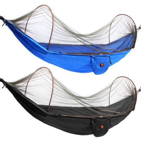 Jeteven Camping Hammock Portable High Strength Parachute Fabric Sleeping Hanging Bed Durable With Mosquito Net Outdoor Camping Hiking Backpacking Travel Black