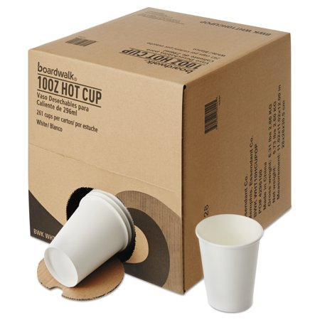 Boardwalk Convenience Pack Paper Hot Cups, 10 oz, White, 261/Carton -BWKWHT10HCUPOP