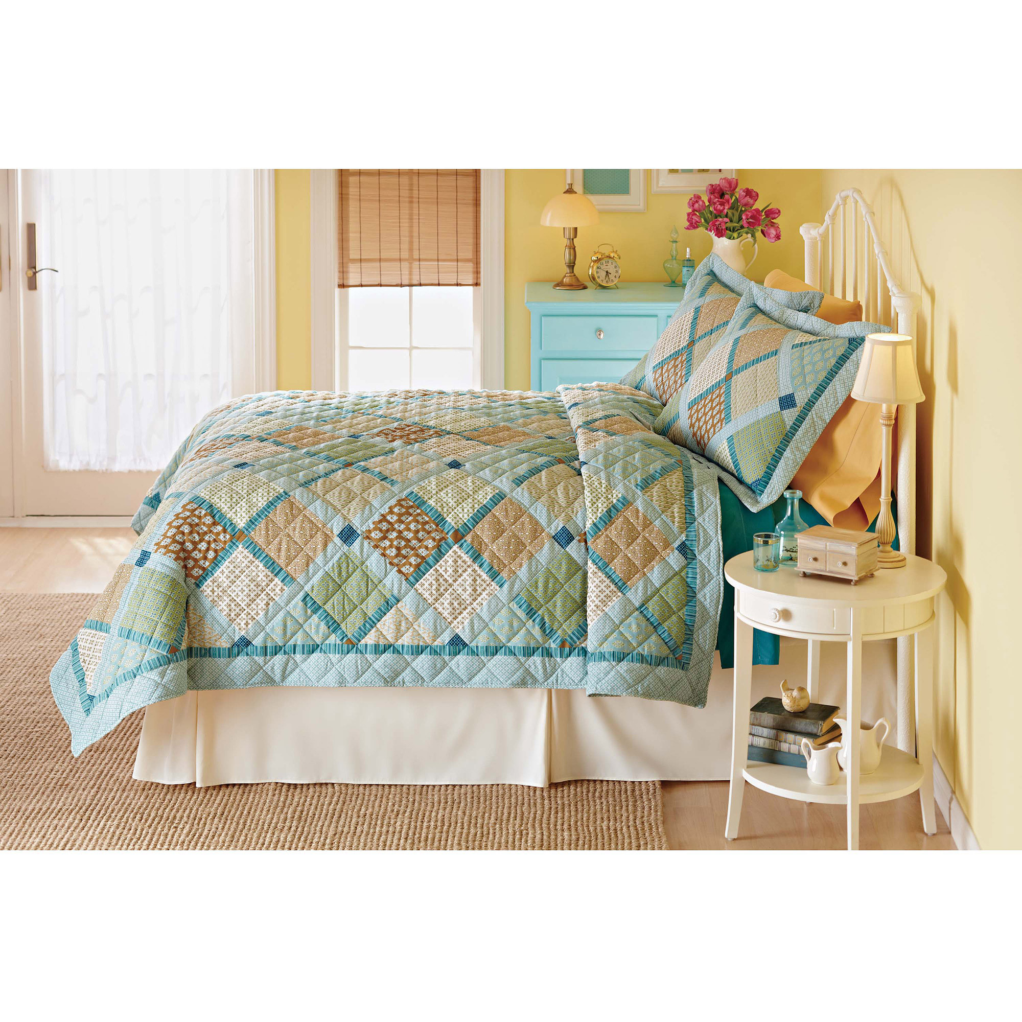 Mainstays Diagonal Plaid Quilt Twin