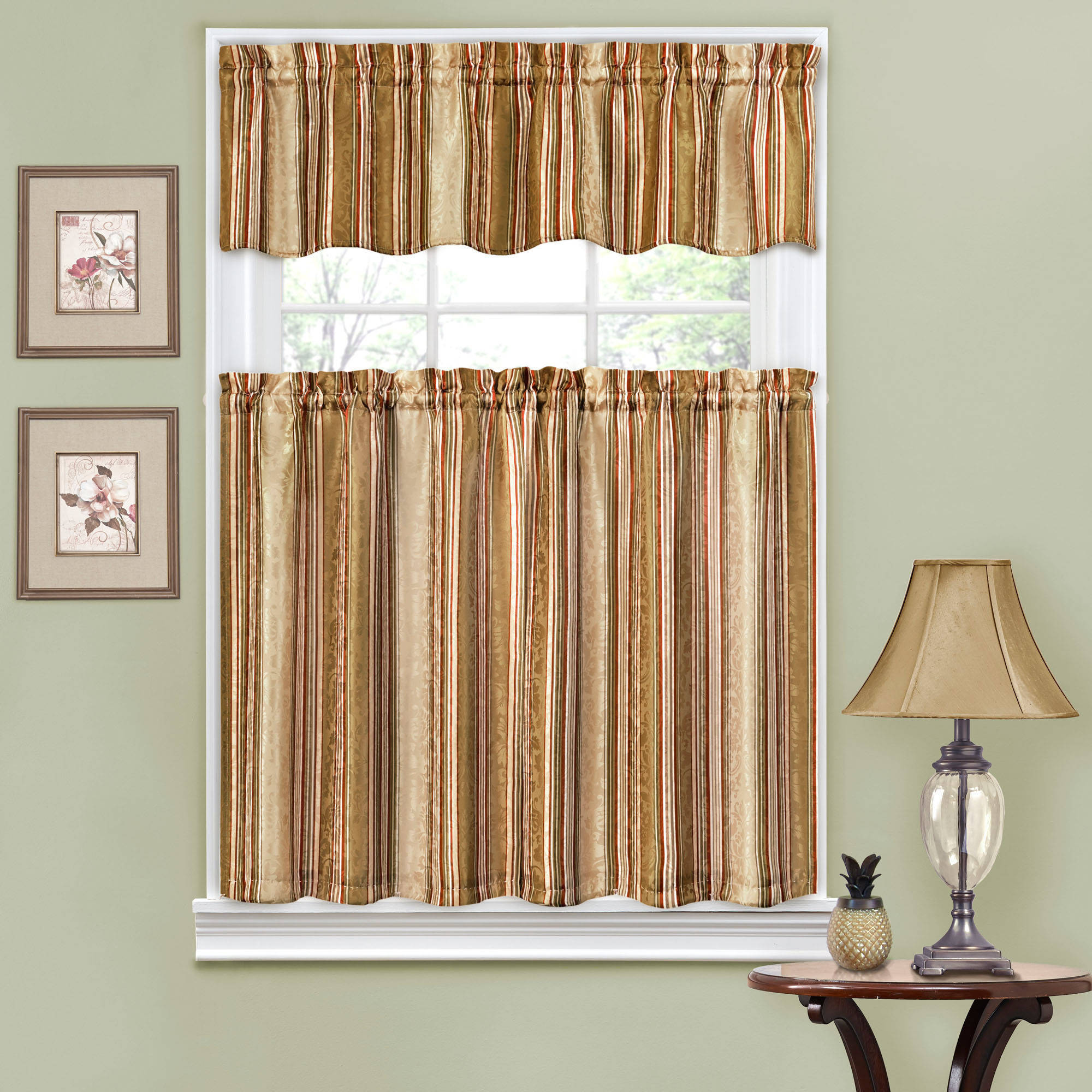 amazing Kitchen Curtain And Valance Set Part - 8: Traditions by Waverly Stripe Ensemble Kitchen Curtain and Valance Set -  Walmart.com
