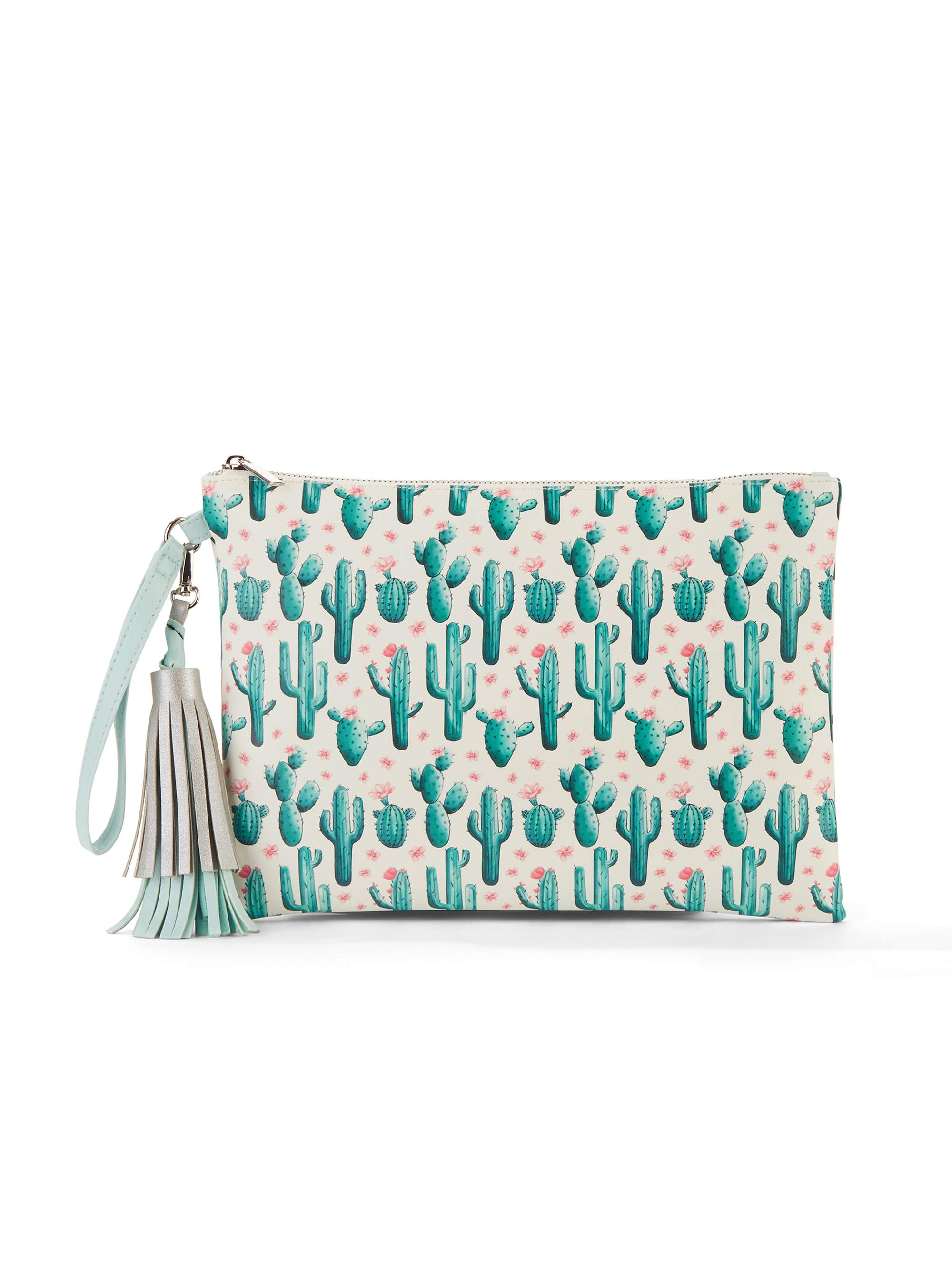 No Boundaries Mint Cactus Wristlet Tassel Pouch