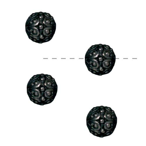 Black Finish Pewter Round 'Casbah' Beads 7mm (4)