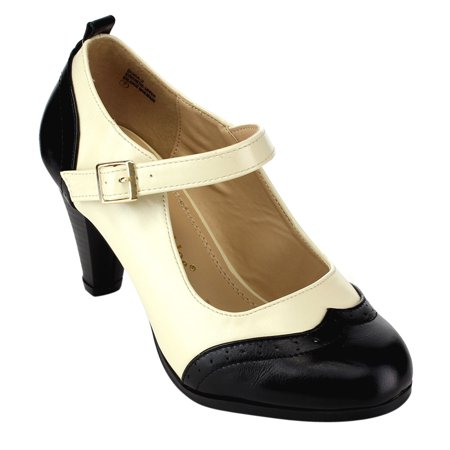 Chase & Chloe CE36 Women's Mid Heel Two Tone Mary Jane Pumps Run Half Size Small - Heel Mary Janes