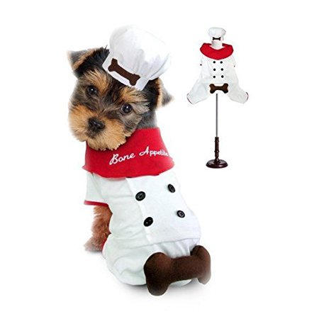 """Chef Uniform Costume For Dogs """"Bone Appetite"""" Red Scarf Cook 3D Bone Attached"""