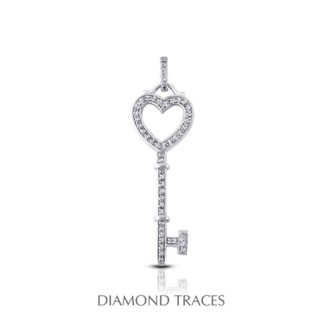 Diamond Traces 0. 37 Carat Total Natural Diamonds 18K White Gold Prong Setting Key Fashion Pendant