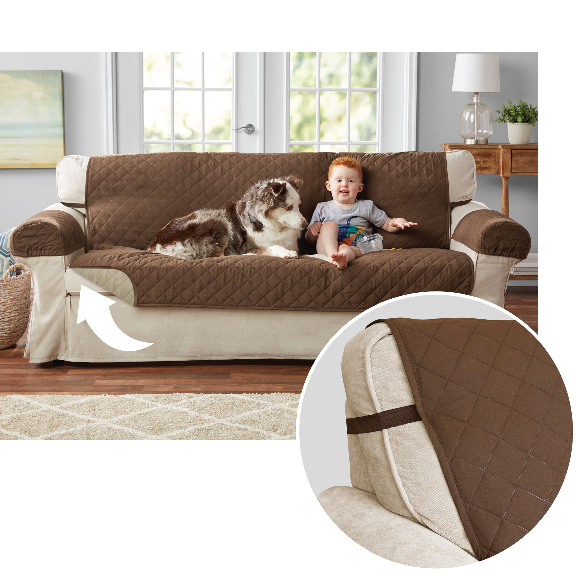 3 Piece Sectional Couch Covers Walmart: Mainstays Reversible 3-Piece Microfiber Sofa Cover
