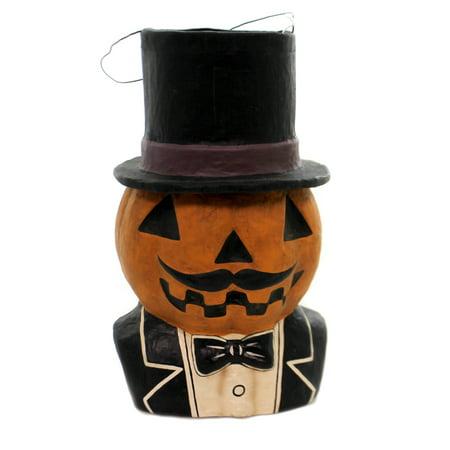 Vintage Paper Mache Halloween Decorations (Halloween JACK DANDY CANDY BUCKET Paper Mache Retro Vintage JOL Pumpkin)