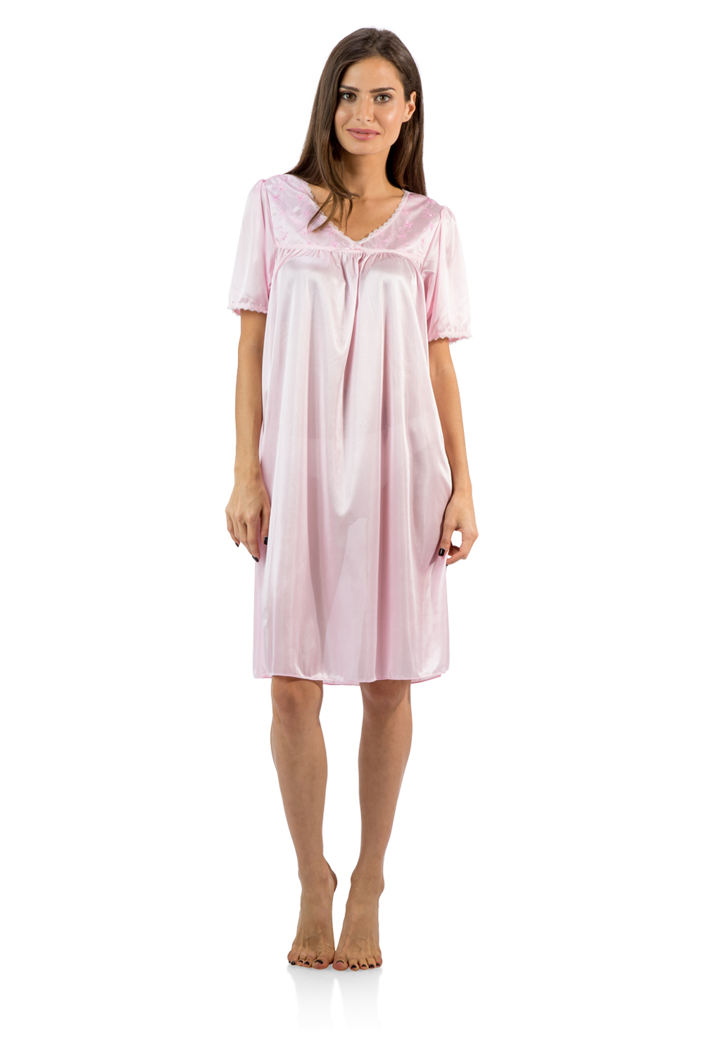 Casual Nights Women's Satin Embroidery Lace Short Sleeve Nightgown