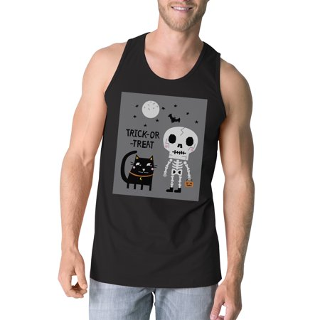 Skeleton Black Cat Mens Black Tanks Couple Halloween Funny Tank Top](Funny Movie Couples For Halloween)