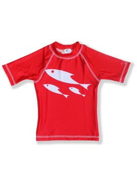 Azul Little Boys Red One Fish Two Fish UPF 50+ Trendy Rash Guard