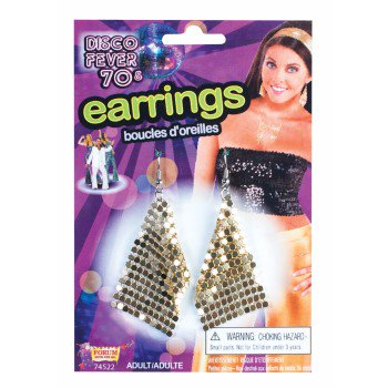 Disco Jewelry Accessories (DISCO DROP EARRINGS-GOLD)