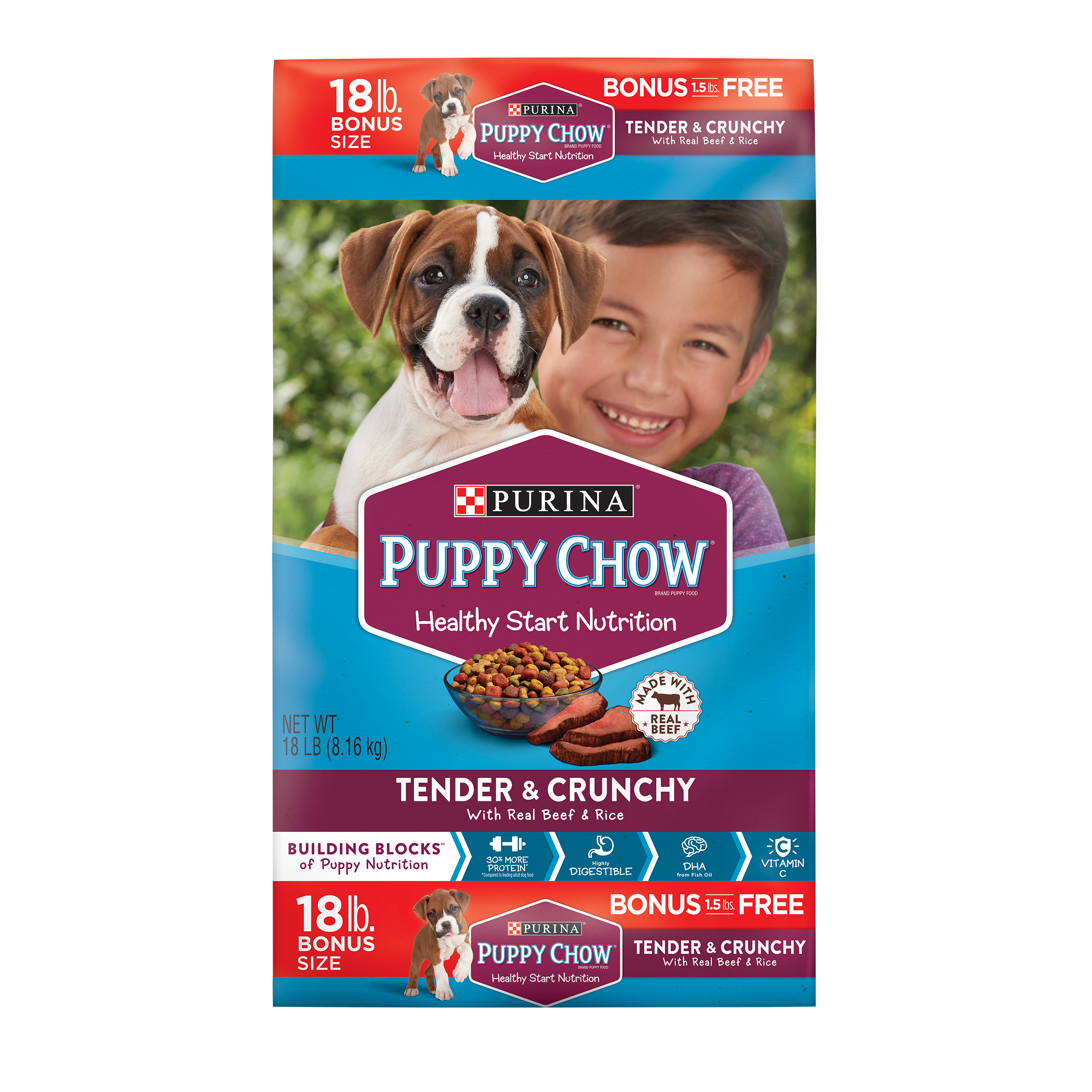 Purina Puppy Chow High Protein Dry Puppy Food; Tender & Crunchy with Real Beef - 18 lb. Bag
