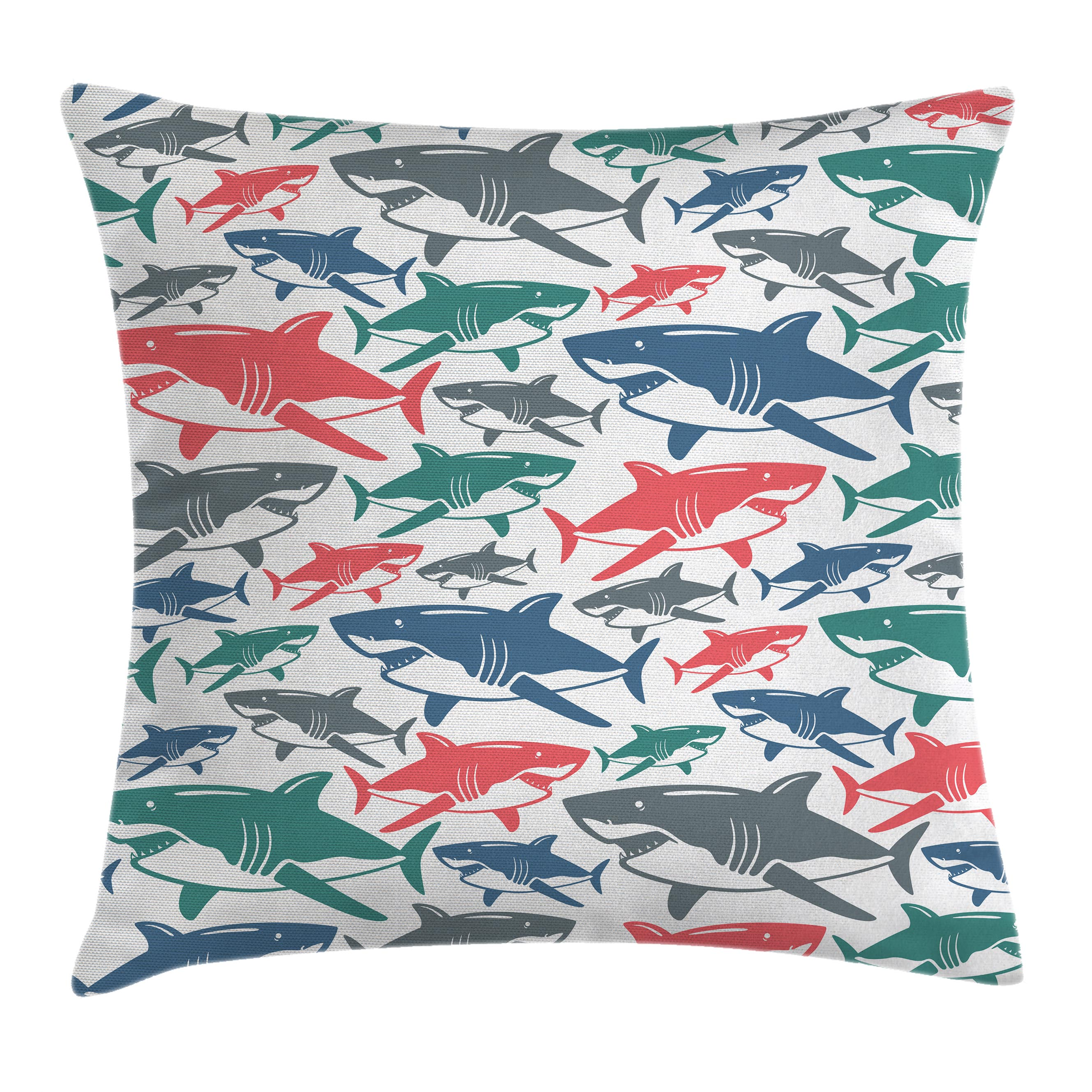 Sea Animal Decor Throw Pillow Cushion Cover, Mix of Colorful Bull Shark Family Pattern Masters of Survival Kids Nursery, Decorative Square Accent Pillow Case, 16 X 16 Inches, Multi, by Ambesonne