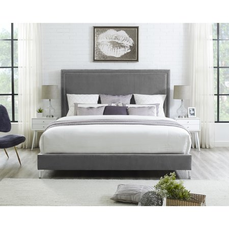 Valencia Grey Leather Platform Bedframe - King Size | Nailhead Trim ...