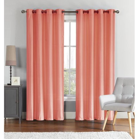 (VCNY Home Ultra Luxurious Faux Silk Grommet Curtain Panels - Coral)