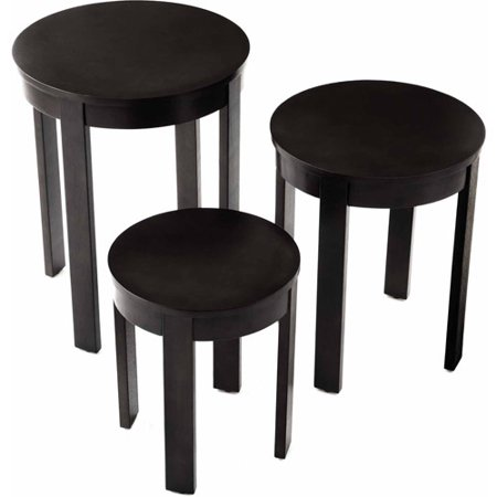 Bay Shore Collection 3-Piece Round Nesting End Table Set, Multiple Colors