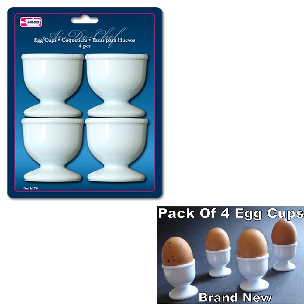 Egg Cups Set 4 PC Poached Hard Boiled Breakfast White Save Kitchen Hot Food New
