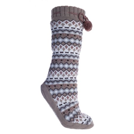 Altos Tan Print Non-Skid Fuzzy Size Small Slipper Socks With Pom Poms