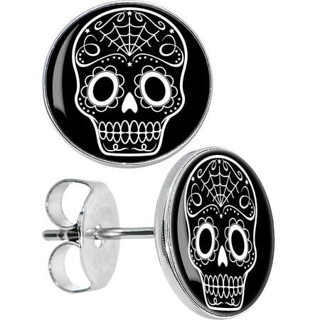 Sugar Skull Earrings (Body Candy Stainless Steel Black White Sugar Skull Art Stud)