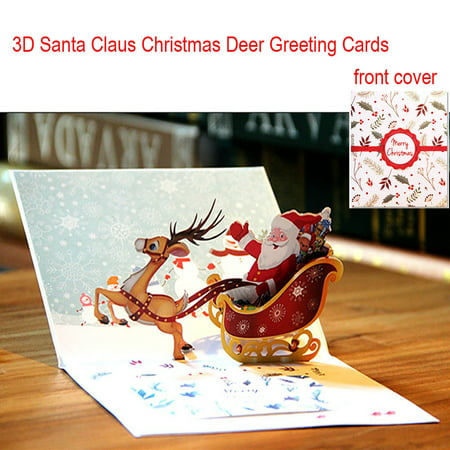 3D Pop Up Card Santa Claus Christmas Deer Holiday Merry Christmas Greeting Cards - Easy Halloween Pop Up Cards