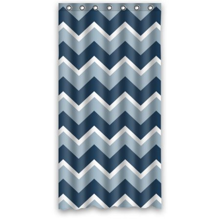 HelloDecor White Dark Blue And Blue Wave Lines Zig Zag Chevron Love Life Shower Curtain Polyester Fabric Bathroom Decorative Curtain Size 36x72 Inches