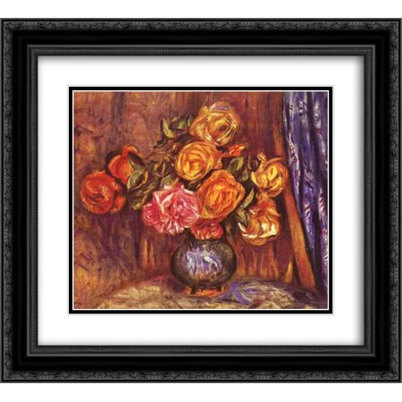 - Pierre Auguste Renoir 2x Matted 24x20 Black Ornate Framed Art Print 'Roses Before the Blue Curtain'