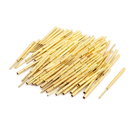 100pcs R75-3W 1.32mm Dia 24.5mm Length Metal Test Probe Needle Cover Gold