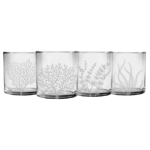 Highland Dunes Ceniceros Coral 4-Piece Glass Assorted Glassware Set by